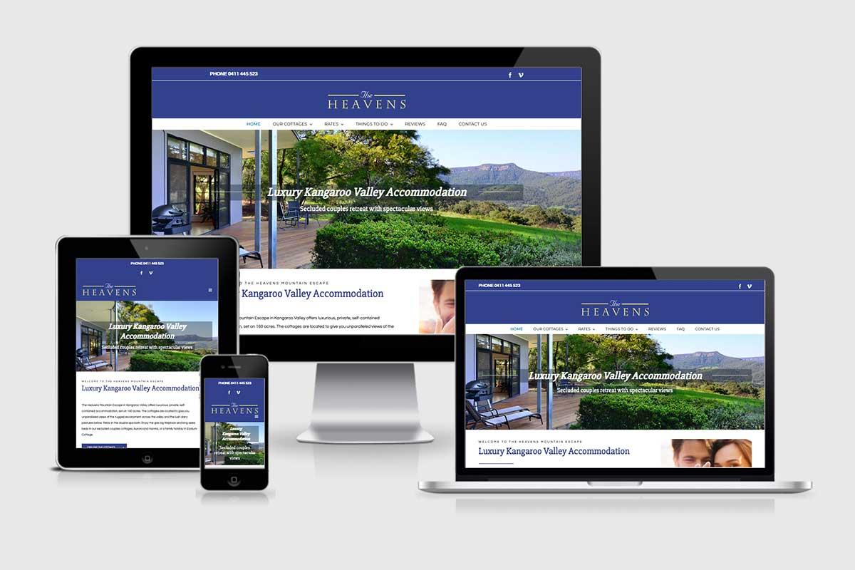 WordPress website, Rapid Websites, The Heavens Mountain Escape