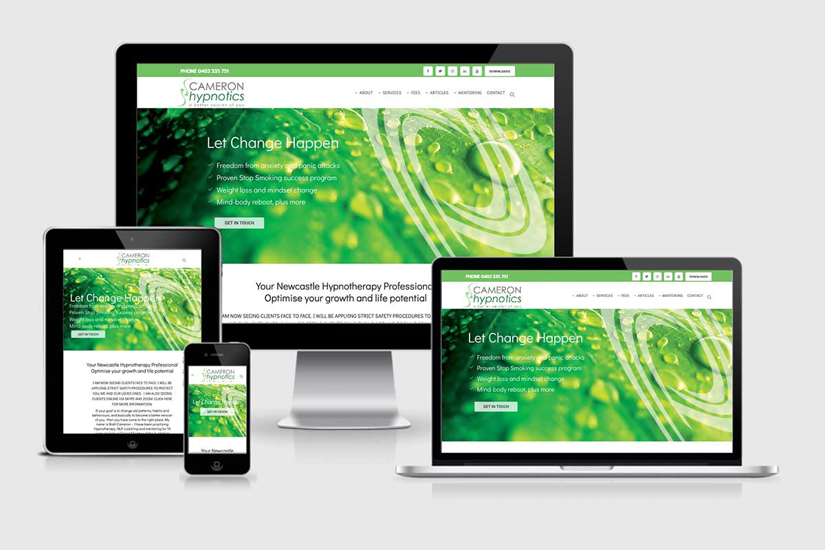 WordPress website, Rapid Websites, Cameron Hypnotics
