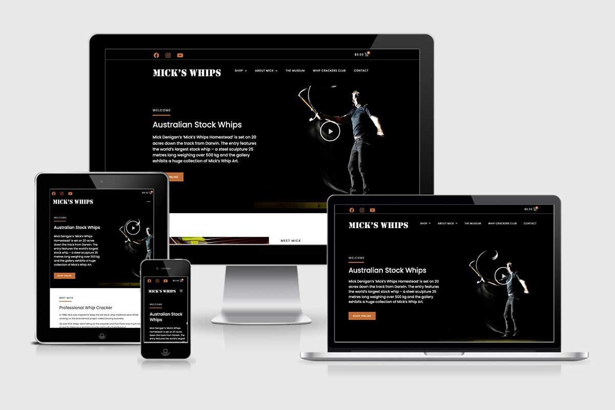 WordPress website, Rapid Websites, Micks Whips